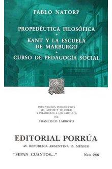Propedéutica filosófica · Kant y la escuela de Marburgo · Curso de pedagogía social
